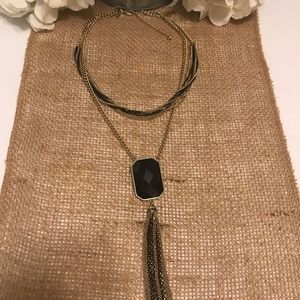 New York and Company Necklace Black/Gold